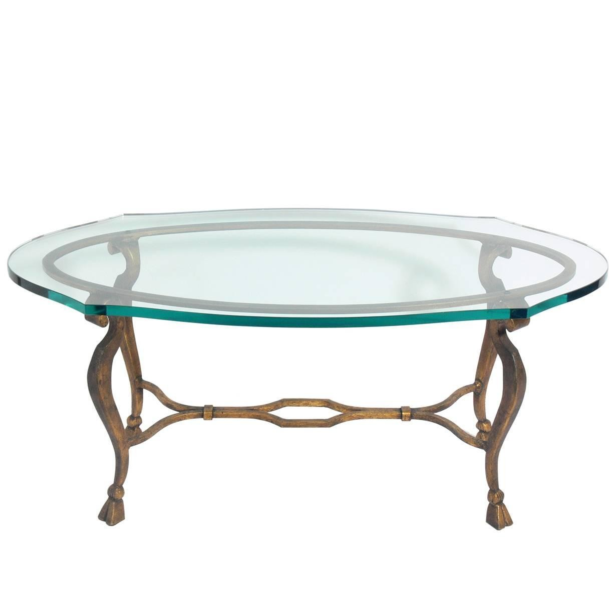 Elegant Gilt Metal Oval Coffee Table For Sale At 1stdibs Tisch Metall Oval